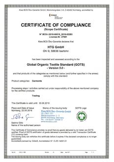 GOTS Zertifikat HTG
